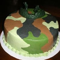 Green Camo Customer wanted three separate camo cakes for her son's B'day party..pink one for the girls attending, green camo and desert camo...