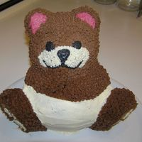 Teddy Bear In Diapers MY FIRST 3D cake EVER! I made it for my sister in law who just got a babyboy.The cake is egg-yolk cake with improvised banana-creamchease...
