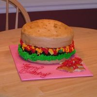 Hamburger My 1st Hamburger cake! I had such a good time making this cake...afterwards I kinda wanted to go out and grab a burger for dinner!