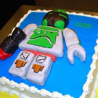 Boba Fett Lego Cake  Twelve inch square cake, made for a darling little boy, by request. Boba Fett is his favorite lego. Boba is made from RTK, covered in...