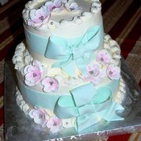 Surprise 70Th Birthday Cake Six and 9 inch white cakes, filled with chocolate sour cream butttercream, iced in SMBC. Pale green/blue ribbons and bows. Gumpaste flowers...