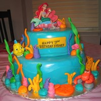 Ariel Birthday Cake I made this cake for my daughter's 3rd birthday. It was a lot of firsts for me, 1st time making a tiered cake, 1st time covering cakes...