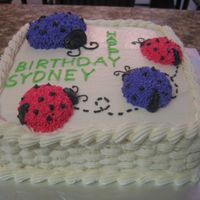 Ladybug Cake I made this cake for my daugther's 2nd birthday to match her theme. The cakes has pink and purple ladybugs, the color didn't turn...