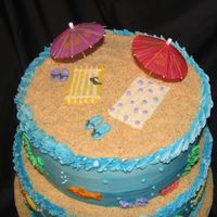 Beach Cake All buttercream, crushed vanilla wafers for sand!