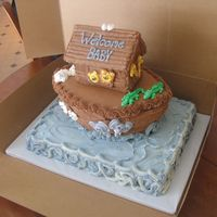 Noah's Ark All buttercream icing except for royal icing animals that I made a few days in advance.