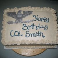 Snickerdoodle Cake Snickerdoodle Cake with Cinnamon Frosting. Eagle is made out of MMF and painted with Lusterdust