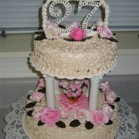 My Birthday Cake I made this cake for my own birthday. This gave me the chance to practice a lot of different techniques. Cornelly lace, MMF and Gum Paste...
