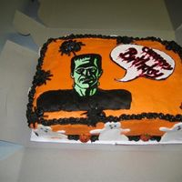 "Fbct And Mmf Ghosts 2 Layer Apple Spiced Cake with Caramel Frosting. Frankenstein is a FBCT, ""Bubble"" is MMF painted with Foodcolor, so are the..."
