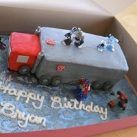 Bryans Cake Transformer cake. My first try at a truck. Had fun!