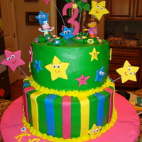 Dora Birthday   Buttercream with gum paste and fondant accents.