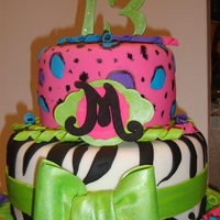 Birthday Cake   Covered in fondant, gum paste bow, numbers, and letter. Birthday girl wanted zebra and leopard with lot's of bright colors.