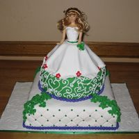 Bridal Shower the bride to be is very irish and collects barbies. her colors are green red and purple, this is what I came up with