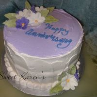 "Michelle's Anniversary   Torted 8"" yellow cake w/vanilla bean custard and fresh chopped strawberry filling.Thanks for looking"