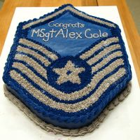 Msgt Promotion Made this for the husband of a coworker who was just promoted to Master Sergeant. White cake all buttercream icing.
