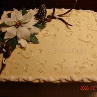 "Christmas Joy 2  Buttercream iced cake with, with gp poinsettia (instructions by Jennifer Dontz, ""instructor extraordinaire"", Thanks Jenn). ""..."