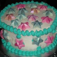 Jessi's Birthday a cake for my sister's birthday. chocolate stars that had been dusted with pearl and petal dust. it was cream cheese icing over...