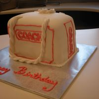 Coach Shopping Bag made this cake for my co-worker it is supposed to be a small shopping bag from coach. fondant with royal piping.