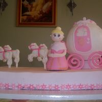 Princess Carriage  My daughter's third birthday cake. My first time making a person, and I don't think she turned out too bad. The cake is...