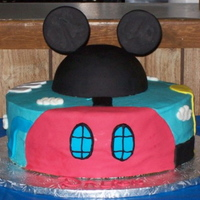 "Clubhouse Cake  Mickey Mouse Clubhouse cake for my nephew's 1st birthday. 12"" round chocolate cake with Oreo filling iced in buttercream with..."