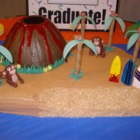 Island  Volcano/island cake for a luau themed graduation. Gumpaste monkeys, palm trees, and surf boards. Volcano was made using the Wonder mold pan...