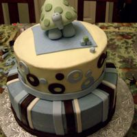 Turtle Baby Baby shower cake for my sister in law who loves turtles. Buttercream with fondant accents and gumpaste turtle.