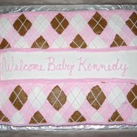 Argyle Baby Shower Cake This was the request for a baby shower - pink & brown argyle pattern to match the baby's room...I used a cookie cutter to make the...