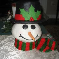 Snowman Snowman head iced in buttercream, hat covered in fondant, nose is fondant and scarf is buttercream on top of fondant The head was made with...