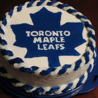 Toronto Maple Leafs Buttercream transfer for a birthday.