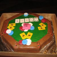 Poker Table Fondant pieces with buttercream top. Made for some people who lost their jobs, pink slip in the pot.