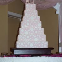 7-Tier Square Wedding Cake With Pink Circles This is the biggest cake I have ever made! I wish you could see the stand a little better in this pic -- DH made it and it is BEAUTIFUL!...