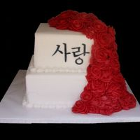 Korean Letters And Red Roses I wasn't so sure about this one when the bride described what she wanted, but I was really pleased with how it turned out! The bride...