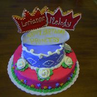 Princess Birthday Did this for a friend at work, whose grandaughters are having a birthday. Chocolate Chip cake with chocolate filling. Covered in...