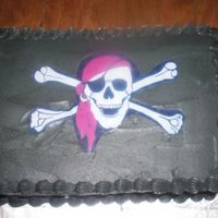 Pirate Flag French Vanilla Cake with French Vanilla Icing and filling. Edible Image of the Skull & Crossbones.