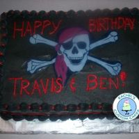 Finished Pirate Cake French Vanilla Cake with French Vanilla Buttercream and Pirate edible image
