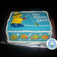 Fishing/fishy Birthday Cake This is my son's birthday cake. Chocolate Fudge Cake, Classic Vanilla Buttercream, Fondant accents.