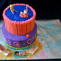 Polly Pocket Cake   All covered in buttercream and the pool on top is outlined with strawberry sugar wafers,