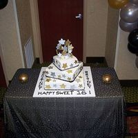 Hollywood Sweet 16 Cake  This was my first stacked cake with buttercream. It's had it's faults, but worked. I loved working with the luster dust/...