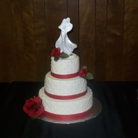 Red And White Wedding   12/9/6 wasc with buttercream and diamond pattern with fondant pearls