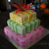 3 Tier Present Cake different angle