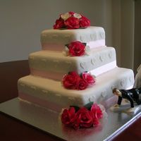 My Sister's Wedding Cake This is my Sister's wedding cake i did for them......my Mum made the fruit cake for the 2 top tiers and i made a choc mud cake for the...