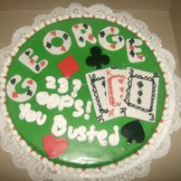 "Las Vegas Giant Cookie  It was supposed to be a ""blackjack"" table w/th fondant cards and misc. spades, hearts,etc. i guess i like it, it's not my..."