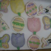 Easter Cookies  I think we made about 8 dozen of these darn things, i'm sick of cookies.Lol. It's just a simple sugar cookie and dipped in RI and...