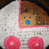 Baby Shower Cookie Cake   Two layer cookie cake with picture of baby carriage