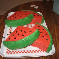 Watermelon 2Nd View water melon 2nd view, there is another pic of the whole thing. 14 inch plain vanilla cake cut into quarters and iced in buttercream !!!!