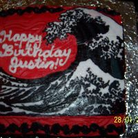 Hokusai Wave Cake This cake is FBCT of the famous wave painting by Hokusai. I traced/filled in a printed pictue of the painting. It took me three hours just...