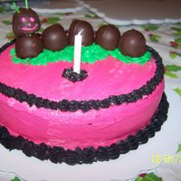 Girl One Year Old's Personal Cake Catapillar Pink And Black Mother found a catapillar in bright basic color and wanted it in pink and black for the one year old's birthday. We took choc covered...