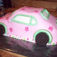 Pink/green Car Wilton car pan, covered with fondant