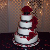Wedding Cake Fondant covered cake w/real flowers and black lace