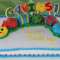 Caterpillar Birthday White cake with bc frosting, candy decorations, and nsfc cookies. I totally stole this idea from another cc member....thanks for the great...