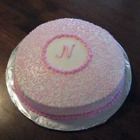 Pink Baby Shower Cake Pretty straight forward and simple. Chocolate cake with cream cheese filling.